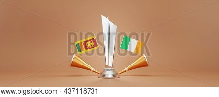 3D Silver Winning Trophy With Participating Countries Flags Of Sri Lanka VS Ireland, Golden Vuvuzela And Copy Space.