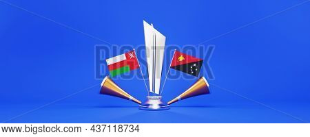 3D Silver Winning Trophy With Participating Team Flags Of Oman VS Papua New Guinea, Golden Vuvuzela And Copy Space On Blue Background.