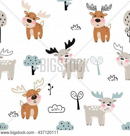Cute Moose Seamless Pattern