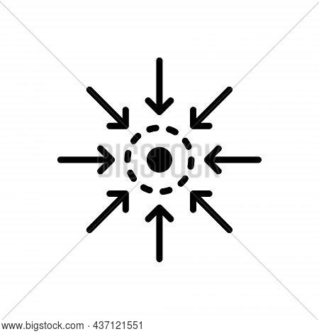 Black Solid Icon For Centre Point Arrow Meeting Epicenter Impact Inward Arrow