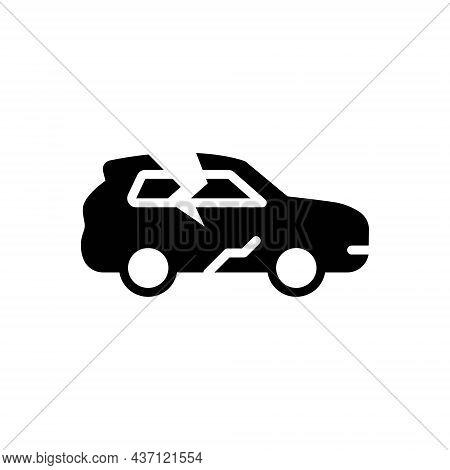 Black Solid Icon For Crack Car Rift Split Fissure Accident Break Rupture Damage