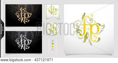 Illustration Of A Monogram Fp Or Pf, Set Of Label Initial Fp Or Pf Letter With Floral Ornament Patte