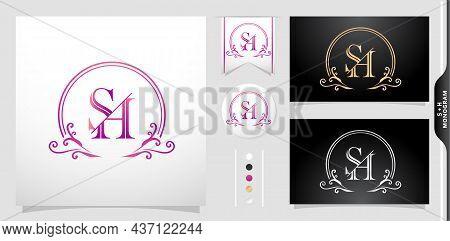 Set Of Label Initial Sh Or Hs Letter, Illustration Of A Emblem Monogram. Circle Gold, Purple  Silver