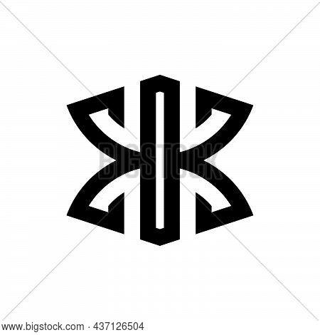 Initial Letter K Or Kk Logo Template With Geometric Sacred Heraldic Line Art Illustration In Flat De