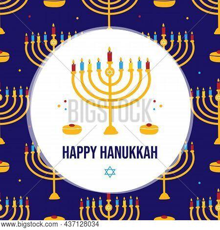 Happy Hanukkah Cartoon Style Greeting Card, Vector Illustration With Menorah With Nine Colorful Ligh