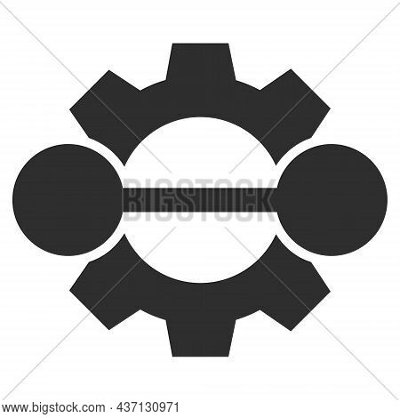 Integration Gear Icon With Flat Style. Isolated Raster Integration Gear Icon Image On A White Backgr
