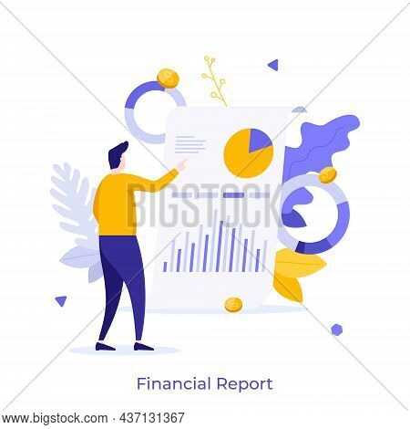 Man Examining Whiteboard With Diagrams On It. Concept Of Financial Report Or Statement, Business Pre