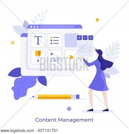 Woman Organizing Digital Elements Of Website In Browser Window. Concept Of Web Content Management, W