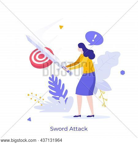 Woman Attacking Target With Sword. Concept Of Fighting For Goal Achievement, Accomplishing Objective
