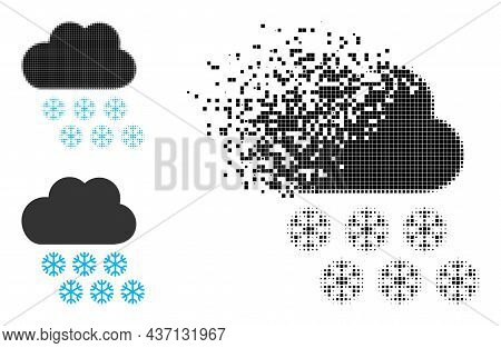 Disintegrating Dotted Snow Weather Pictogram With Halftone Version. Vector Wind Effect For Snow Weat