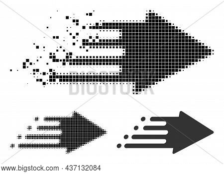 Dissolved Pixelated Speed Process Glyph With Halftone Version. Vector Destruction Effect For Speed P