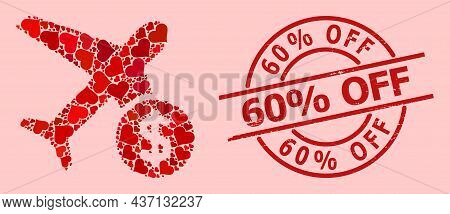Rubber 60 Percent Off Stamp Seal, And Red Love Heart Mosaic For Airflight Price. Red Round Stamp Inc