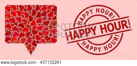 Rubber Happy Hour Exclamation. Stamp Seal, And Red Love Heart Collage For Banner. Red Round Stamp Se