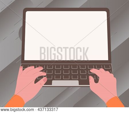 Illustration Of A Busy Hand Working On Laptop Searching For New Wonderful Ideas. Palm Drawing Active