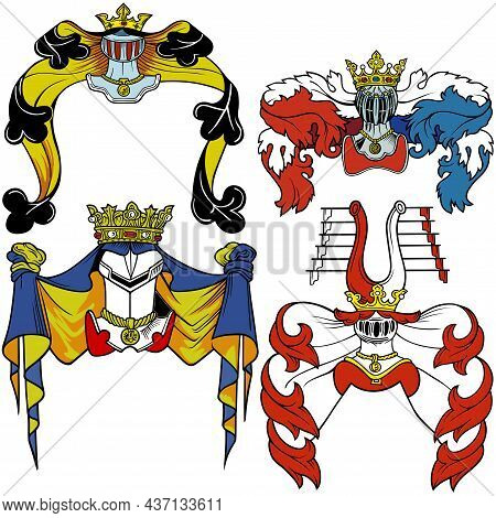 Set Of Historical Heraldic Helmets - Illustrations With Coat Of Arms Design Elements Isolated On Whi