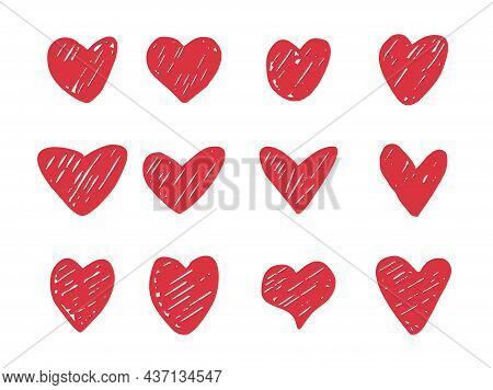 Set Of Hand Drawn Heart. Hand Drawn Rough Marker Hearts Isolated On White Background. Vector Isolate