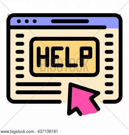 Online Help Page Icon. Outline Online Help Page Vector Icon Color Flat Isolated