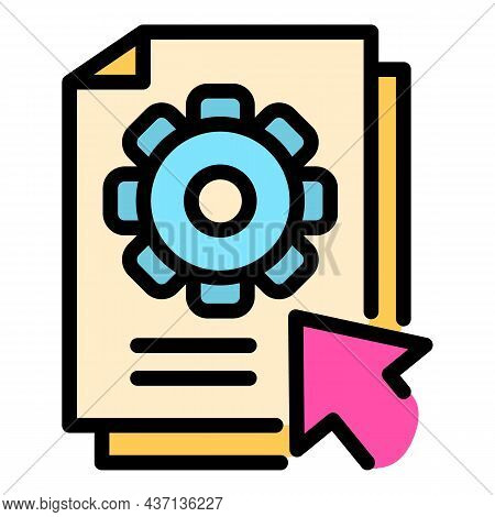 Gear Online Help Icon. Outline Gear Online Help Vector Icon Color Flat Isolated