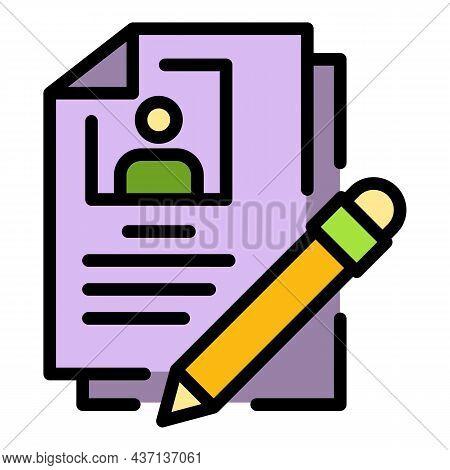 Person Cv Icon. Outline Person Cv Vector Icon Color Flat Isolated
