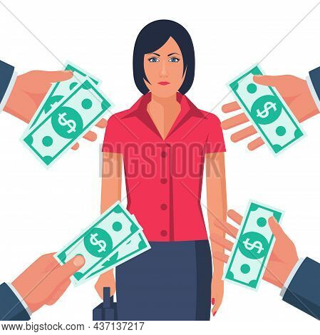 Popular Specialist. Many Suggestions. People Keep Money In Hands. Businesswoman Professional. High S
