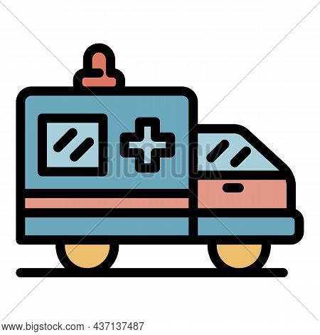 Ambulance Car Icon. Outline Ambulance Car Vector Icon Color Flat Isolated