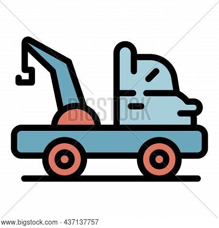 Tow Truck Help Icon. Outline Tow Truck Help Vector Icon Color Flat Isolated