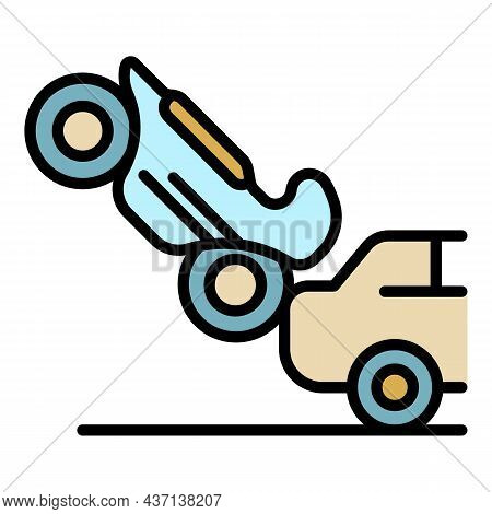 Motorbike Car Accident Icon. Outline Motorbike Car Accident Vector Icon Color Flat Isolated
