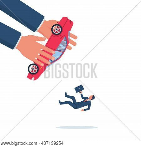 Confiscated Car. The Collector Takes The Car From A Businessman. Eviction Notice. Vector Illustratio