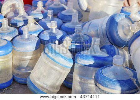 Empty Dusty Drinking Water Bottles