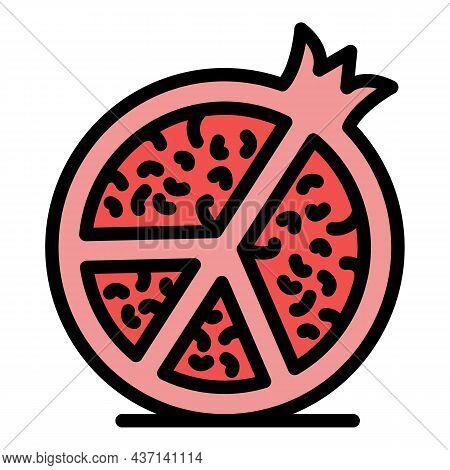 Half Pomegranate Icon. Outline Half Pomegranate Vector Icon Color Flat Isolated