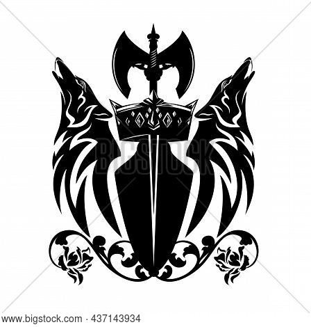 Howling Wolf Heads With Heraldic Shield, Scandinavian Battle Axe, Rose Flowers And Royal Crown - Nor