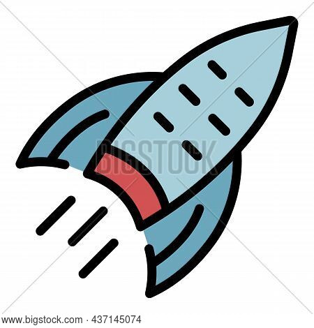 Goal Rocket Icon. Outline Goal Rocket Vector Icon Color Flat Isolated