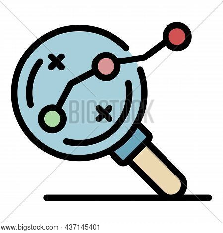 Magnifier Goal Route Icon. Outline Magnifier Goal Route Vector Icon Color Flat Isolated