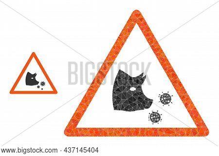 Lowpoly Pork Flu Warning Icon On A White Background. Flat Geometric Lowpoly Symbol Based On Pork Flu