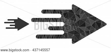 Low-poly Quick Arrow Icon On A White Background. Flat Geometric Polygonal Illustration Based On Quic