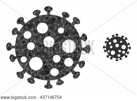 Low-poly Virus Cell Icon On A White Background. Flat Geometric Polygonal Illustration Based On Virus