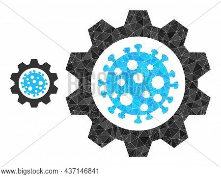 Low-poly Virus Gear Icon On A White Background. Flat Geometric Mesh Illustration Based On Virus Gear