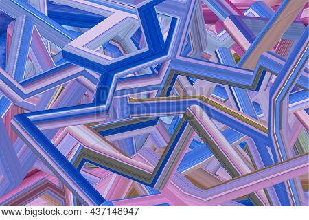 Abstract Vector Background With Tubes On Different Direction. Multicolored Random Pipes In Different