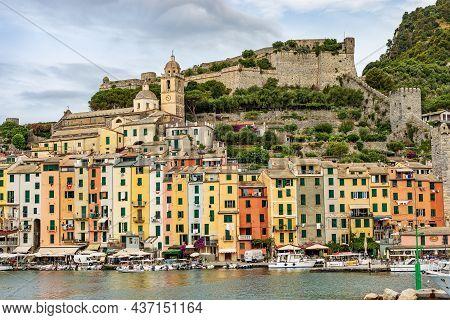 Porto Venere, Italy - July 8, 2021: Cityscape Of Porto Venere Or Portovenere Village, The Ancient Do