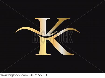 Premium Letter K Logo Design With Water Wave Concept. K Letter Logo Design. K Logo Design Vector Tem