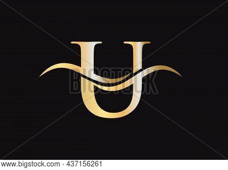 Initial U Letter Logo Vector Template. Swoosh Letter U Logo Design. U Logo Design With Luxury Concep