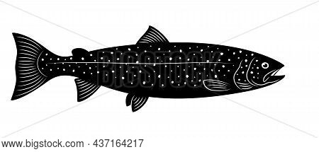 Silhouette Of Female Atlantic Salmon Is On A White Background.