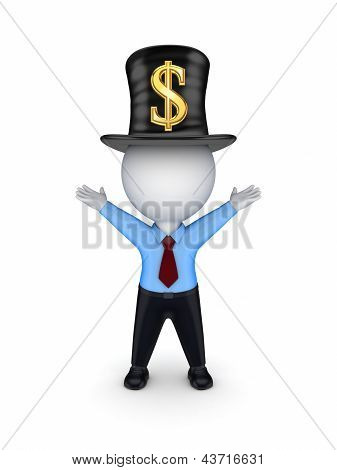3d small person with sign of dollar on top-hat.