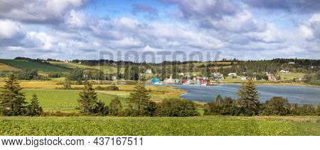 Local fishing community and oyster barns in Kensington, Prince Edward Island, Canada. Wide panorama rural scene in summer.