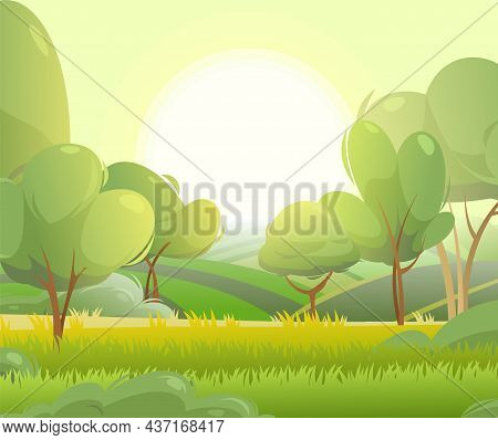 Spring Juicy Meadow. Sunrise Rural Landscape With Grass And Orchard Farmer Hills. Cute Funny Cartoon