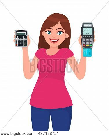Young Woman Showing Calculator. Trendy Girl Holding Credit, Debit Or Atm Card Payment Machine. Femal