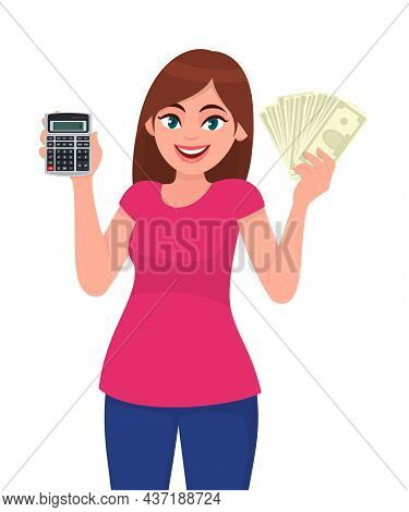Young Woman Showing Calculator. Trendy Girl Holding Cash, Money Or Currency Notes In Hand. Female Ch