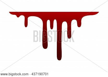 Dripping Blood Horizontal Line. Oozing Bloody Red Liquid. Halloween Scary Decoration. Flowing Paint