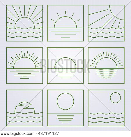 Various Of Sunset Or Sunset Icon Isolated Collection Bundle Set Symbol Line Art Clipart Ocean Marine