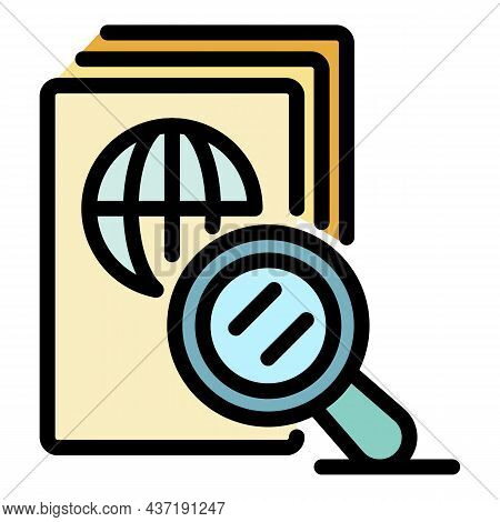 Magnifier Passport Control Icon. Outline Magnifier Passport Control Vector Icon Color Flat Isolated